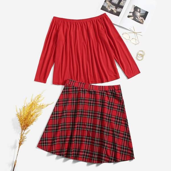 Plus Off Shoulder Tee & Tartan Skirt, Red