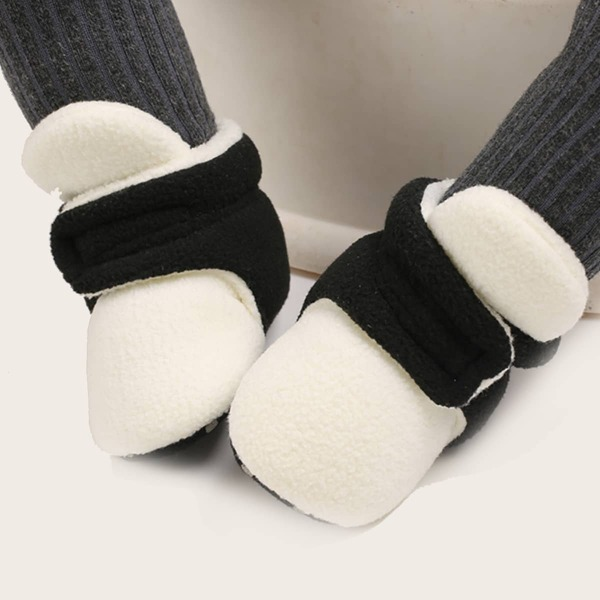 Baby Two Tone Fluffy Velcro Strap Boots, White