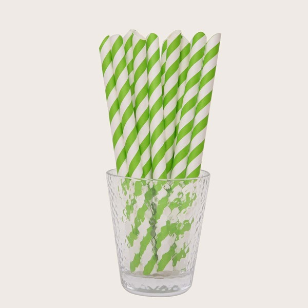 10pcs Stripe Print Disposable Straw, Multicolor