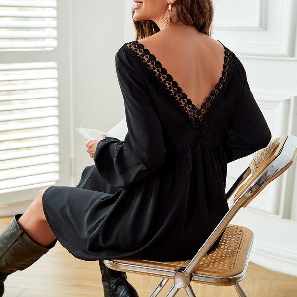 Contrast Lace Backless Bishop Sleeve Dress, Black