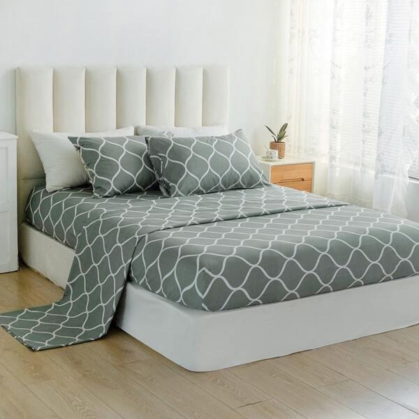 Geometric Pattern Sheet Set, Light grey