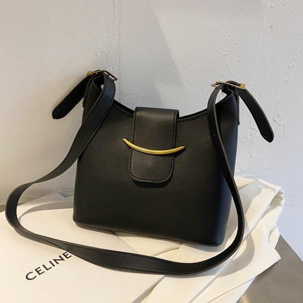 Minimalist Flap Crossbody Bag With Inner Pouch, Black