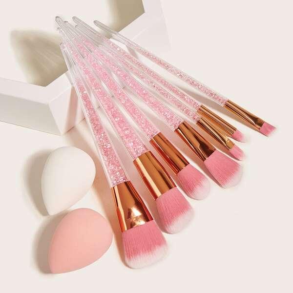 7pcs Rhinestone Decor Handle Makeup Brush & 2pcs Makeup Sponge, Multicolor