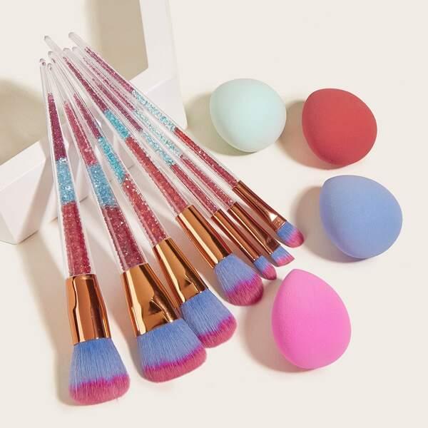 7pcs Rhinestone Decor Handle Makeup Brush & 4pcs Makeup Sponge, Multicolor