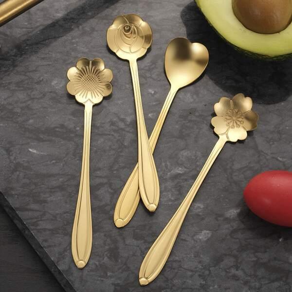 4pcs Flower Design Spoon, Gold