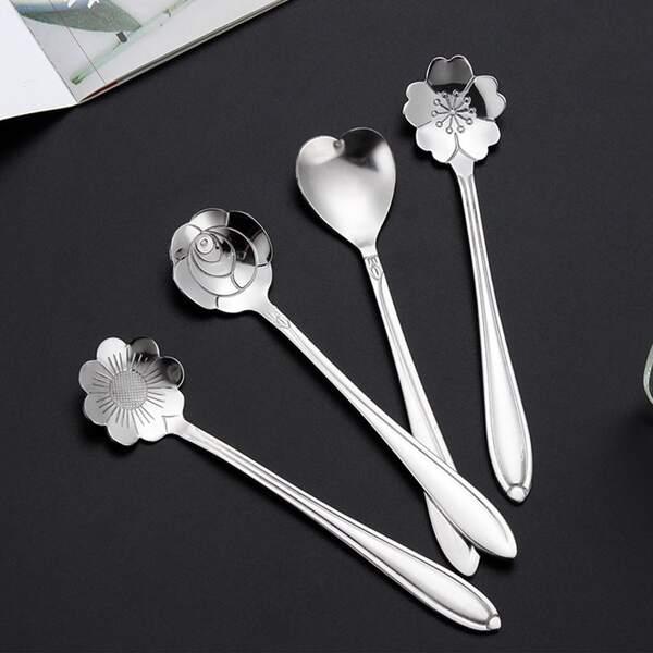4pcs Flower Design Spoon, Silver