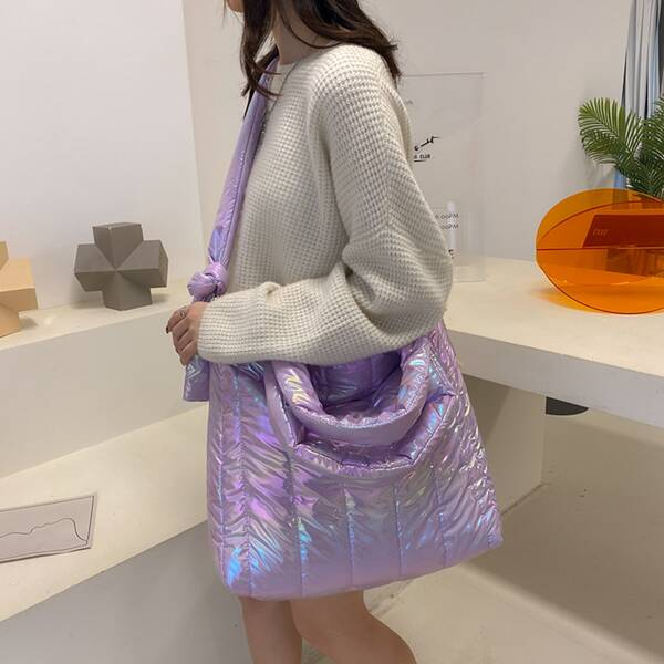 Holographic Textured Tote Bag, Purple