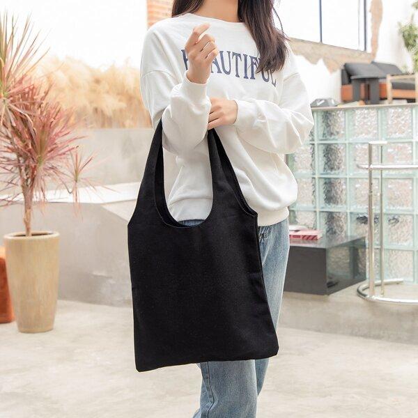 Minimalist Canvas Shopper Bag, Black