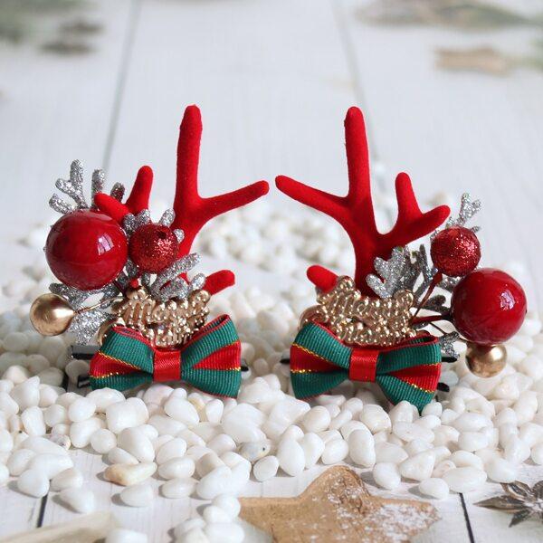 2pcs Toddler Girls Christmas Bow Decor Alligator Clip, Multicolor