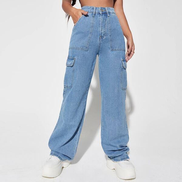 Flap Pocket Cargo Jeans, Light wash