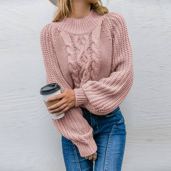 Cable Knit Raglan Sleeve Sweater, Dusty pink