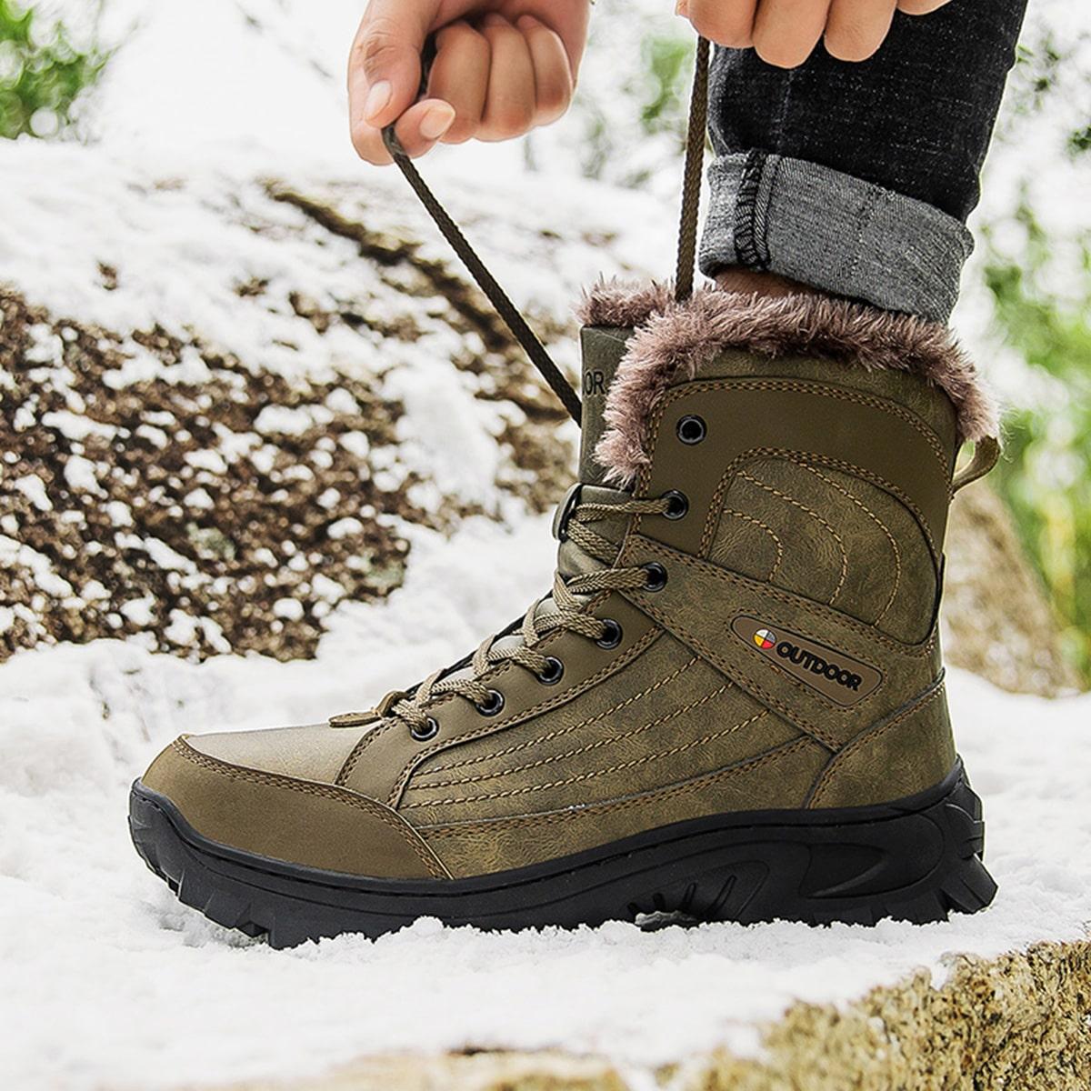 Men Plush Inside Hiking Boots