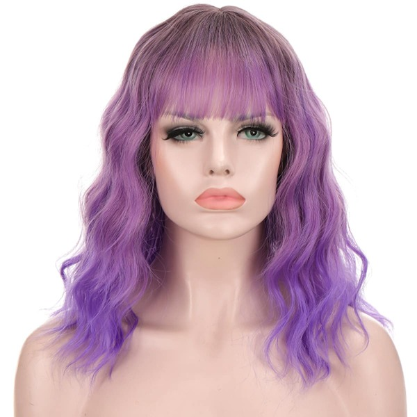 Lace Front Ombre Short Curly Synthetic Wig With Bangs, Mauve purple