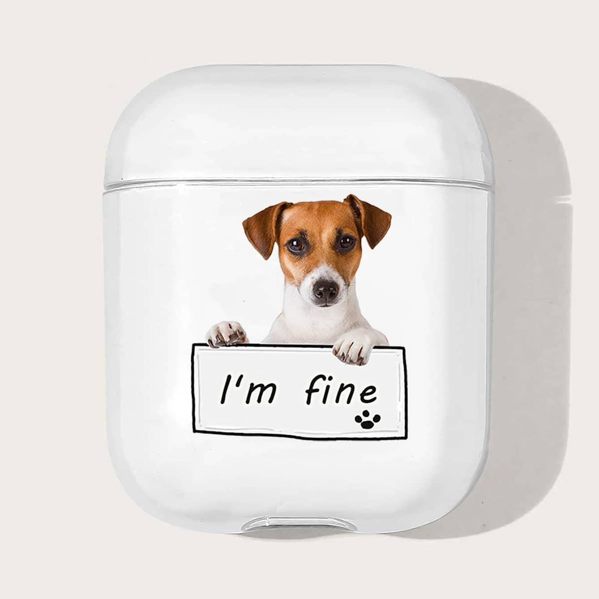 Dog & Letter Graphic Case For Airpods
