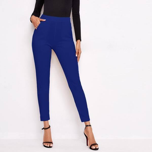 Slant Pocket Solid Skinny Pants, Royal blue