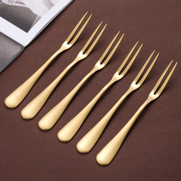 6pcs Stainless Steel Fruit Fork, Gold