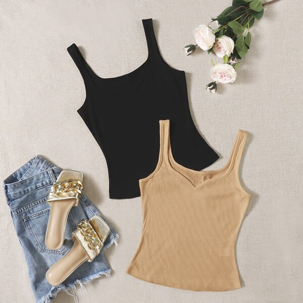 2pcs Solid Ribbed Knit Tank Top, Multicolor
