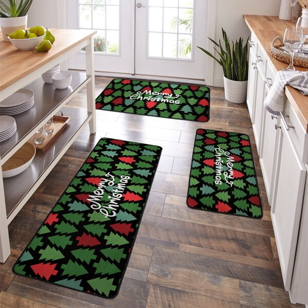 1pc Christmas Tree Print Kitchen Rug, Multicolor