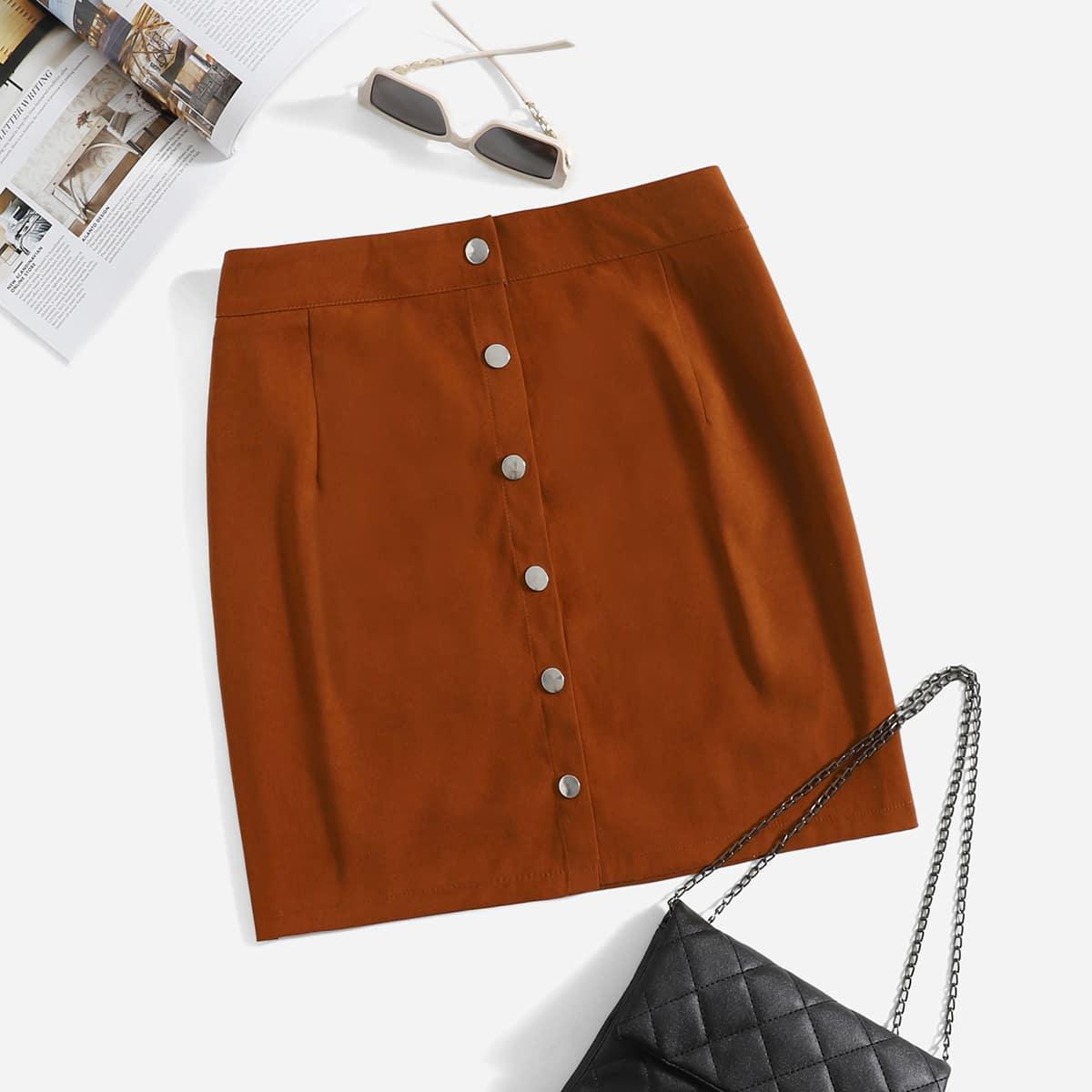Plus Single Breasted Skirt