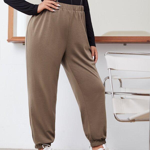 Plus Solid Elastic Waist Sweatpants, Mocha brown
