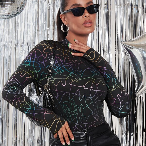 Graffiti Print Mock Neck Bodysuit, Multicolor