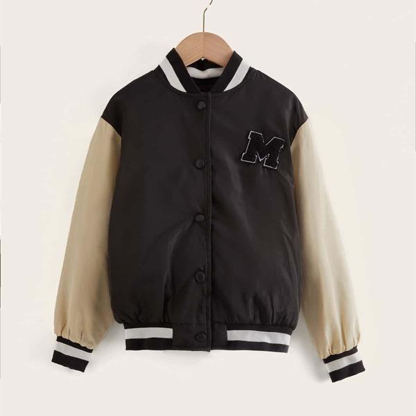 Girls Letter Patch Detail Drop Shoulder Colorblock Bomber Jacket, Black