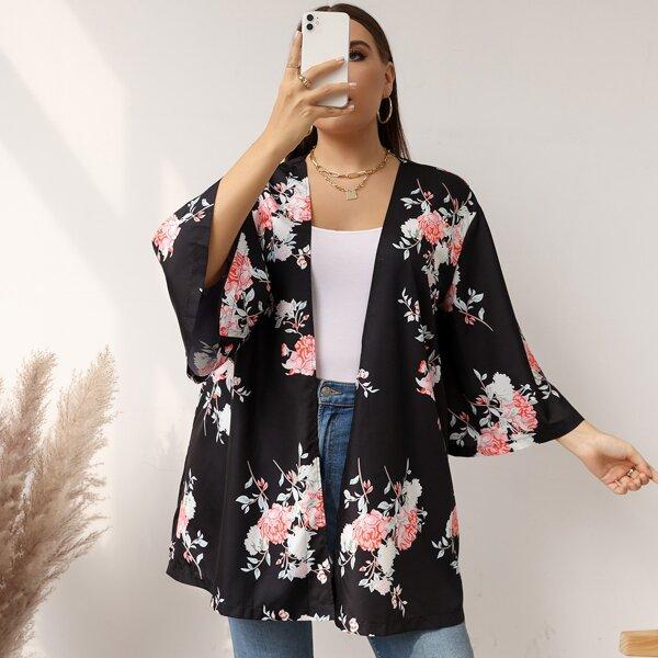Plus Floral Print Open Front Kimono, Black