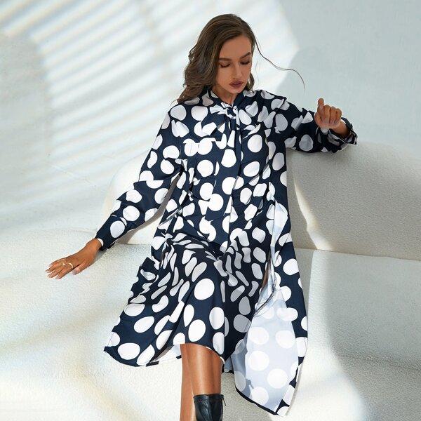 Polka Dot Print Tie Neck Split Thigh Dress, Black and white
