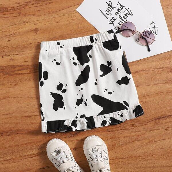 Toddler Girls Cow Print Ruffle Hem Skirt, Black and white