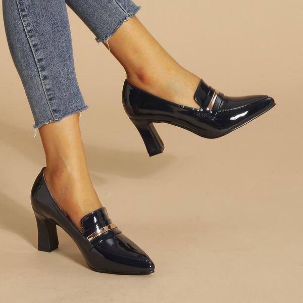Snaffle Decor Point Toe Chunky Heeled Loafers, Royal blue