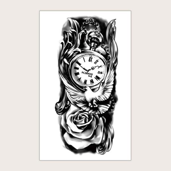 1sheet Watch Pattern Tattoo Sticker, Black