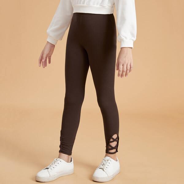 Girls Cut Out Crisscross Hem High Waist Leggings, Chocolate brown