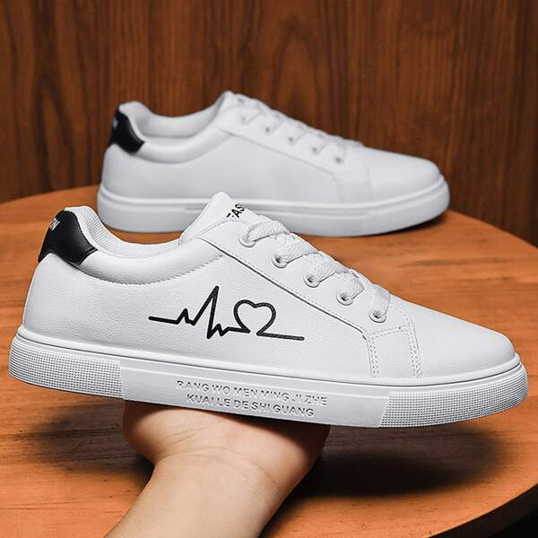 Men Letter Graphic Lace-up Front Skate Shoes, White