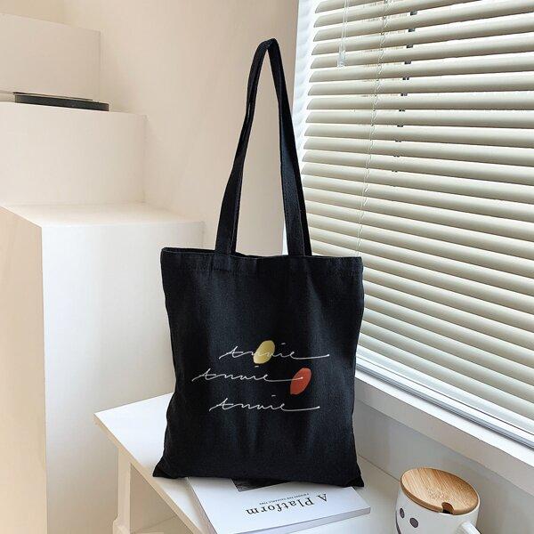 Letter Graphic Shopper Bag, Black