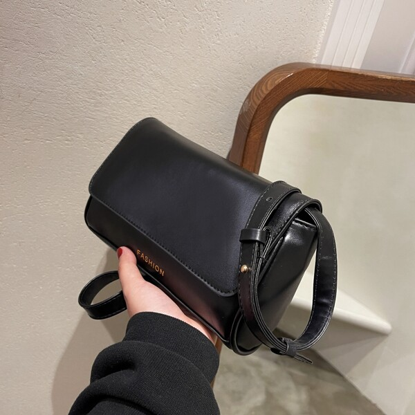 Minimalist Flap Baguette Bag, Black