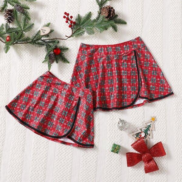 Girls Christmas Tartan Cover Up Skirt, Multicolor