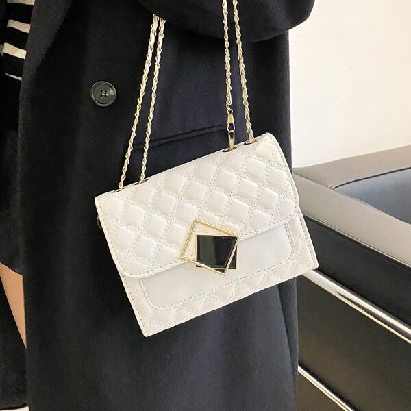 Minimalist Quilted Chain Flap Square Bag, White