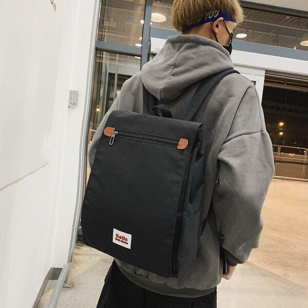 Men Letter Patch Flap Backpack, Black