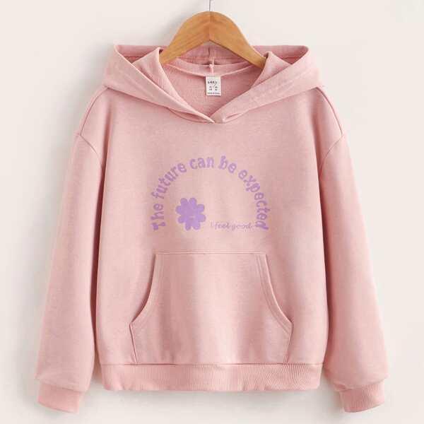 Girls Slogan & Floral Print Kangaroo Pocket Hoodie, Dusty pink