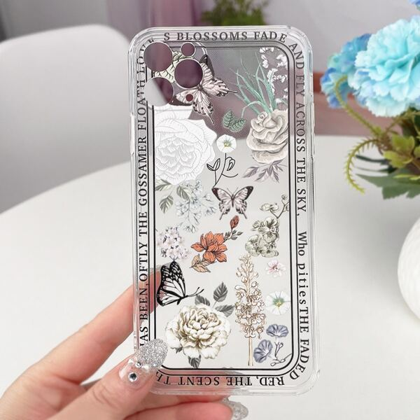 Butterfly & Flower Painted Clear Phone Case, Multicolor