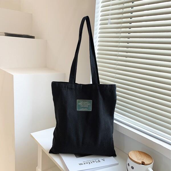 Letter Patch Shopper Bag, Black