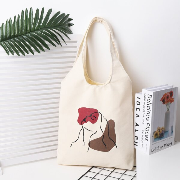 Cartoon Figure Graphic Shopper Bag, Beige