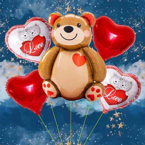 6pcs Bear Design Decorative Balloon, Multicolor