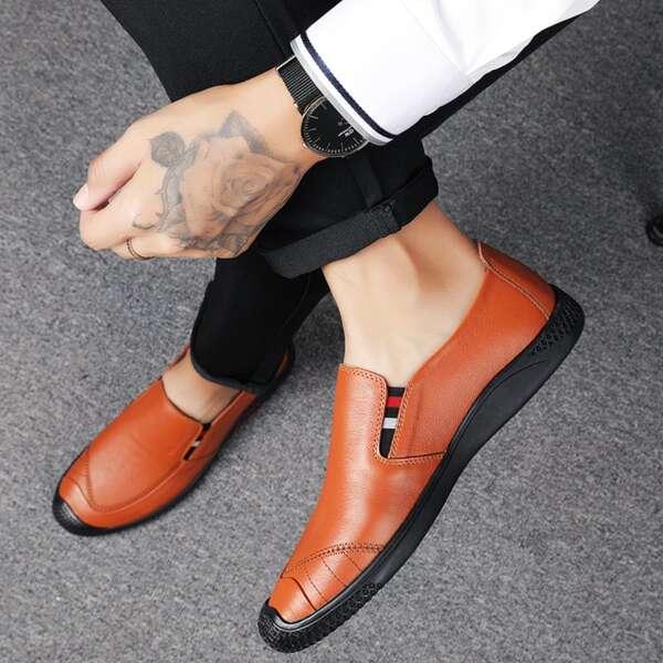 Men Minimalist Slip On Dress Shoes, Brown