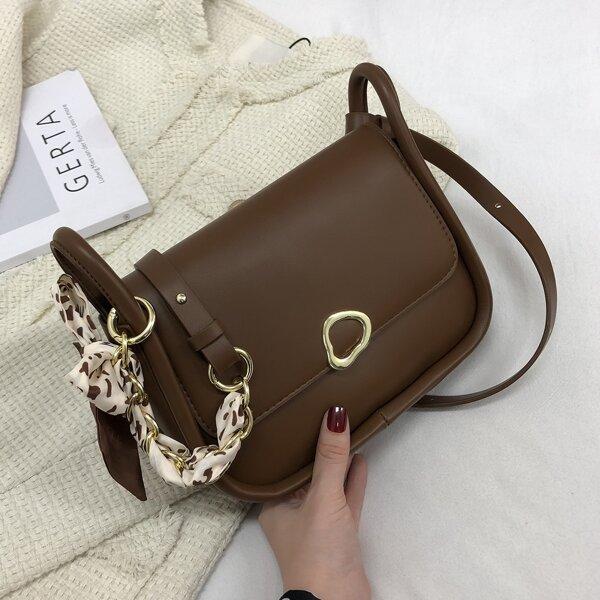 Twilly Scarf Decor Saddle Bag, Coffee brown