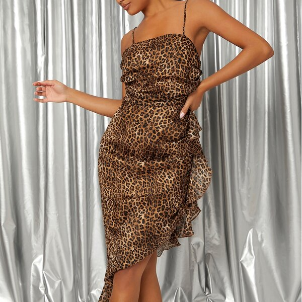 Leopard Print Ruched Ruffle Asymmetrical Hem Cami Dress, Multicolor