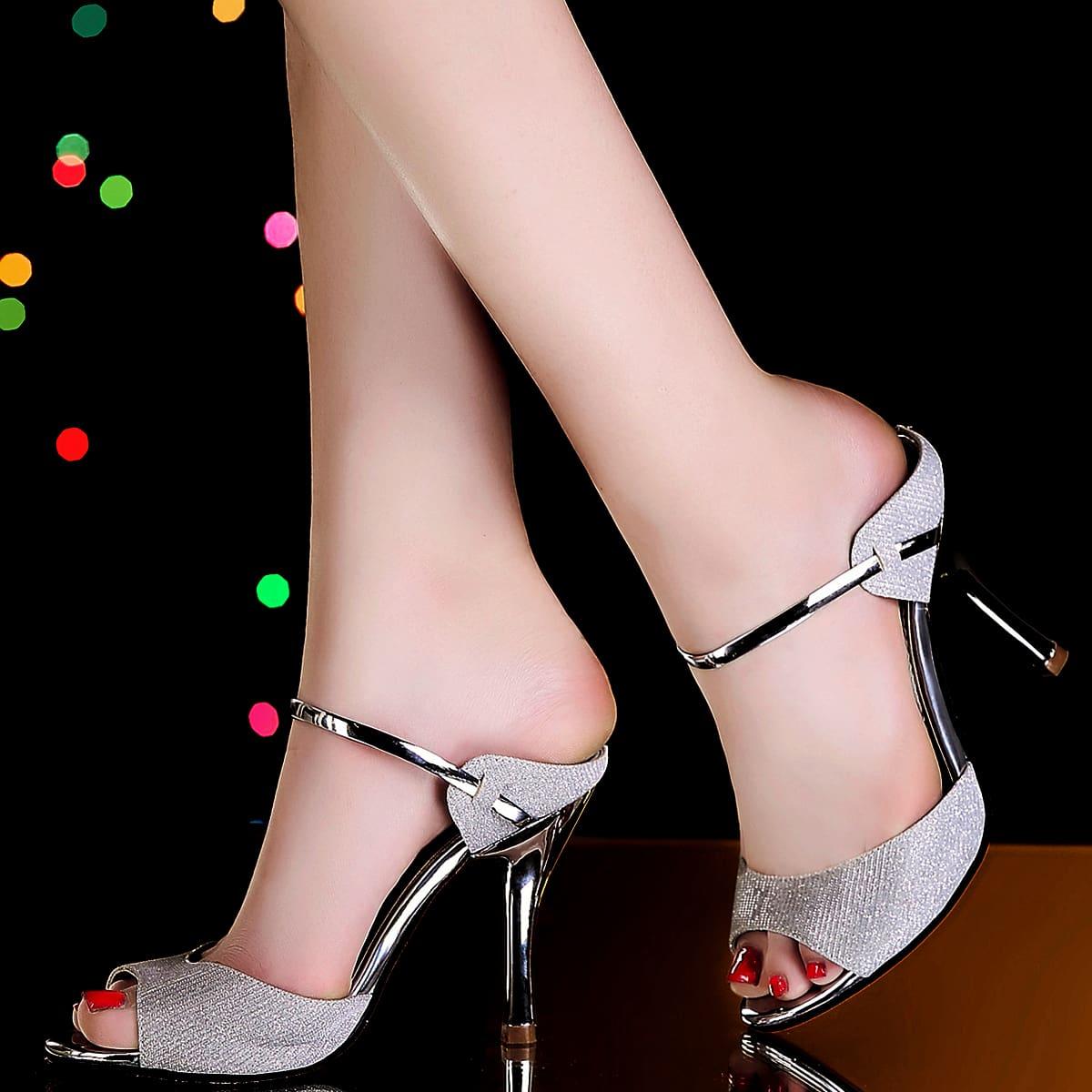 Glitter Decor Peep Toe Stiletto Heeled Pumps