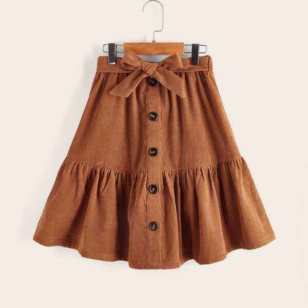 Girls Belted Button Front Ruffle Hem Skirt, Rust brown