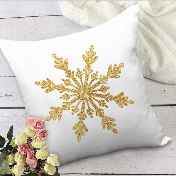 Snowflake Print Cushion Cover Without Filler, Multicolor