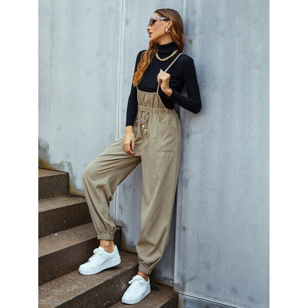 Double Pocket Tie Front Corduroy Overall Jumpsuit Without Sweater, Khaki